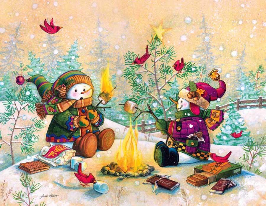 Вставить картинку, открытка новогодний пазлы