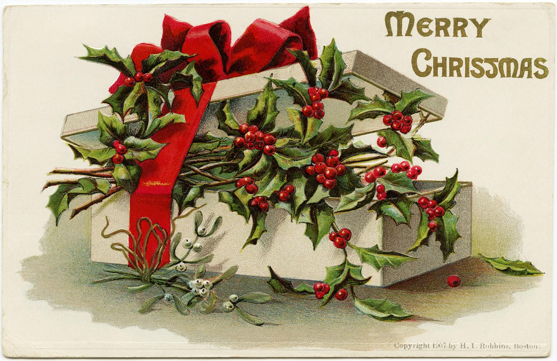 Рождественские открытки с цветами