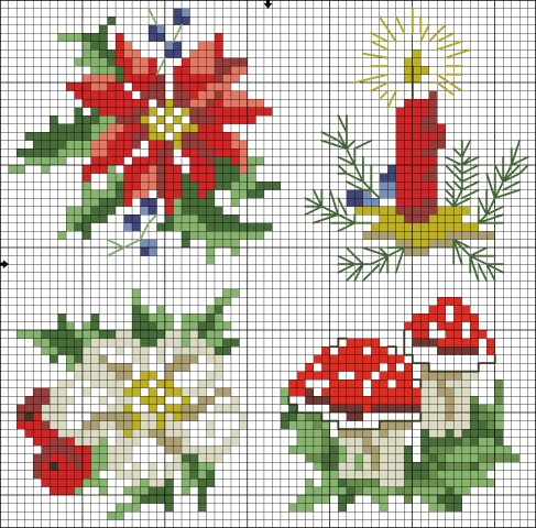 |     Pattern Name:	Woodland World Christmas     Designed By:	Oehlenschlager     Company:	OOE - Design     Copyright:	Winter / wintercharts@yahoo.com     Fabric:	Aida 14, White     	63w X 62h Stitches     Size(s):	14 Count,   11.43w X 11.25h cm     	11 Count,   14.55w X 14.32h cm     	16 Count,   10.00w X 9.84h cm       Floss Used for Full Stitches:     Symbol	Strands	Type	Number	Color      	2	DMC	351	Coral      	2	DMC	606	Bright Orange-Red      	2	DMC	612	Drab Brown-LT      	2	DMC	666	Christmas Red-BRT      	2	DMC	791	Cornflower Blue-VY DK      	2	DMC	793	Cornflower Blue-MD      	2	DMC	814	Garnet-DK      	2	DMC	816	Garnet      	2	DMC	989	Forest Green      	2	DMC	3033	Mocha Brown-VY LT      	2	DMC	3345	Hunter Green-DK      	2	DMC	3346	Hunter Green      	2	DMC	3371	Black Brown      	2	DMC	5282	Metallic thread      	2	DMC	White	White       Floss Used for Back Stitches:     Symbol	Strands	Type	Number	Color      	1	DMC	989	Forest Green      	1	DMC	3345	Hunter Green-DK      	1	DMC	3371	Black Brown      	1	DMC	5282	Metallic thread