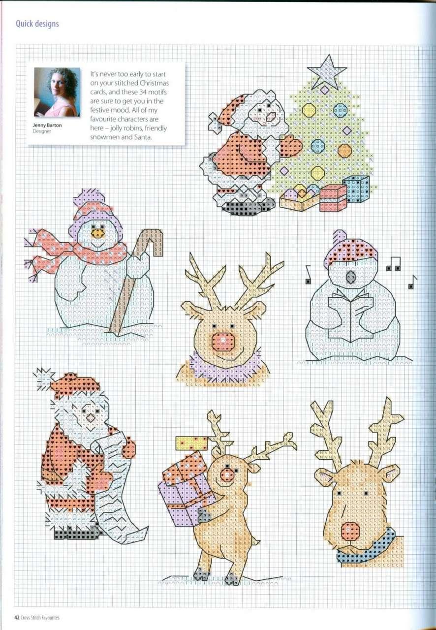Новогодние схемы вышивки крестом на открытке