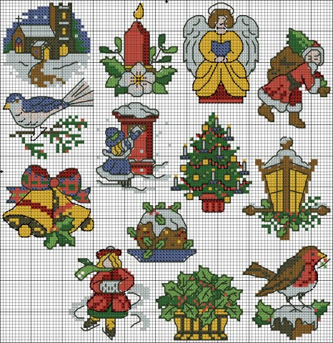 |     Pattern Name:	Victorian Christmas     Company:	Cross Stitcher magazine     Copyright:	Winter     Fabric:	Aida 18, White     	105w X 108h Stitches     Size(s):	18 Count,   14.82w X 15.24h cm     	16 Count,   16.67w X 17.14h cm     	14 Count,   19.05w X 19.59h cm       Floss Used for Full Stitches:     Symbol	Strands	Type	Number	Color      	1	DMC	225	Shell Pink-UL VY LT.  / Anchor 1026 / Madeira 0814      	1	DMC	310	Black.  / Anchor 403 / Madeira 2400      	1	DMC	350	Coral-MD.  / Anchor 011 / Madeira 0213      	1	DMC	434	Brown-LT.  / Anchor 310 / Madeira 2009      	1	DMC	703	Chartreuse.  / Anchor 238 / Madeira 1307      	1	DMC	728	Topaz.  / Anchor 305 / Madeira 2509      	1	DMC	817	Coral Red-VY DK.  / Anchor 013 / Madeira 0211      	1	DMC	986	Forest Green-VY DK.  / Anchor 246 / Madeira 1414      	1	DMC	3021	Brown Gray-VY DK.  / Anchor 905 / Madeira 1904      	1	DMC	3756	Baby Blue-UL VY LT.  / Anchor 1037 / Madeira 2504      	1	DMC	3807	Cornflower Blue.  / Anchor 122 / Madeira 2702       Floss Used for Back Stitches:     Symbol	Strands	Type	Number	Color      	1	DMC	310	Black      	1	DMC	814	Garnet-DK