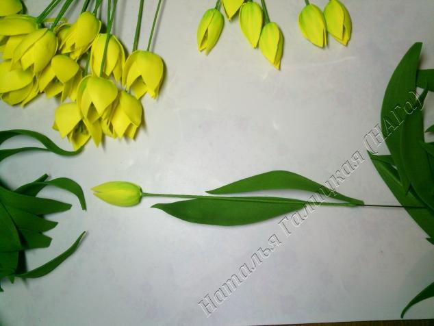 Для удобства сборки разделите на ровные и загнутые листья. Листы приклеиваем в шахматном порядке. Верхний лист берем лодочкой, рисунок снаружи. Клей наносим на 0,5 см минимум и обклеиваем стебель, можно соединять стороны листа  внахлёст, можно стык в стык и прижать на месте стыка. Верхний лист не должен быть выше середины головки цветка. Нижний лист приклеиваем напротив верхнего листа на небольшом произвольном расстоянии.