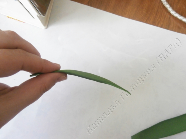 Забыла сделать фото начала обработки листьев. Наносим рельеф на листья. Зубочисткой С ОДНОЙ стороны делаем бороздки по всей длине листа. Стороной с нанесенным рисунком прикладываем к утюгу. И формируем лист. С той стороны где нет прожилок проводим большим пальцем. Большой и указательный пальцы обеих рук формируют лист. Указательный придерживает, а большой палец давит.