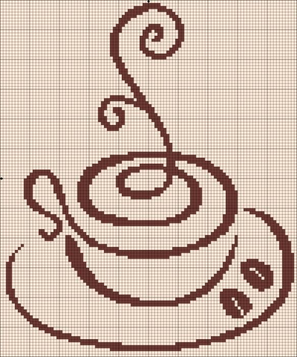 Картинки вышивки крестиком кофе