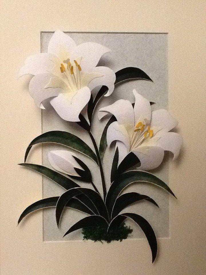 Открытка из бумаги лилию