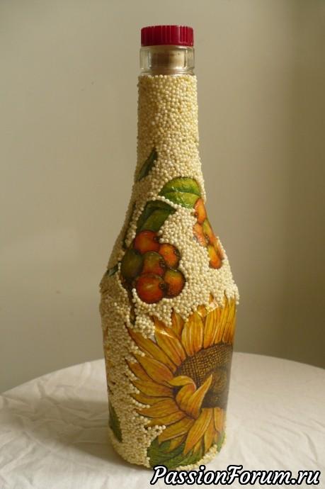 Декупаж бутылочки для растительного масла.