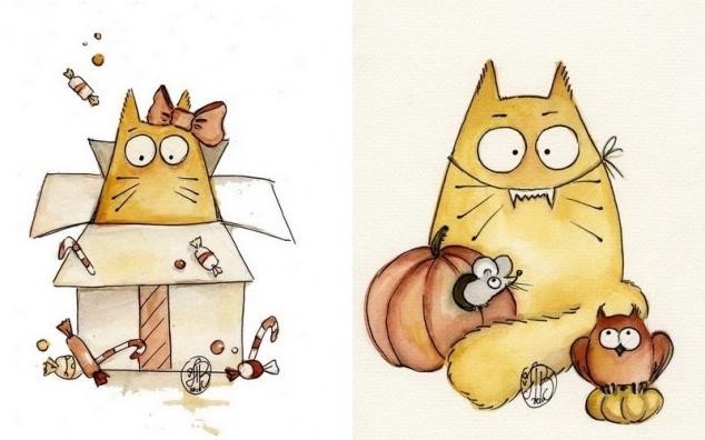 Хочу поделиться рисунками вот такого забавного кота Pookie