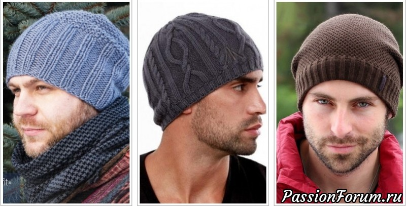 узоры вязания мужских шапок спицами с техникой и схемами