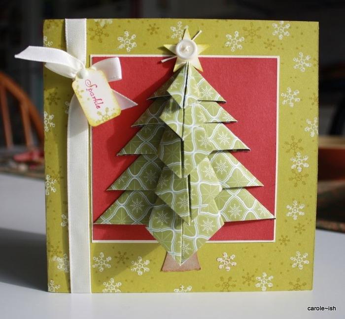 елочка из бумаги на открытку своими карточкой