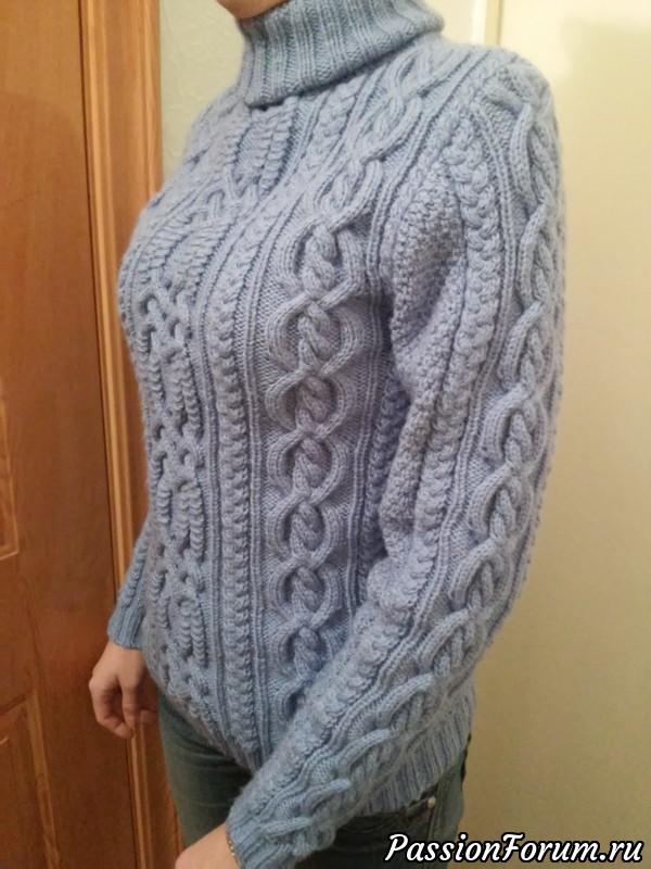 74470e428cf Люблю араны. Связала себе новый свитер. Пряджа Alize Lanagold 800 в три  сложения. Получился толстый