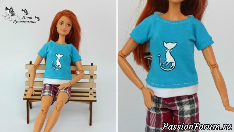 как сшить футболку для куклы барби фото вид