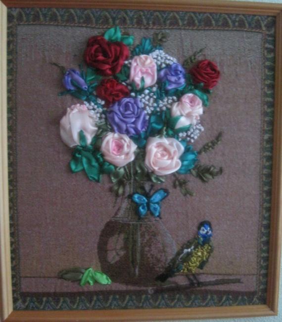 Розы на юбилей подруге.Гобелен