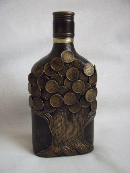 декорирование бутылок монетами мастер класс с фото